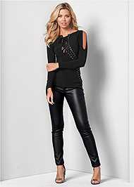 Front View Lace Up Cold Shoulder Top