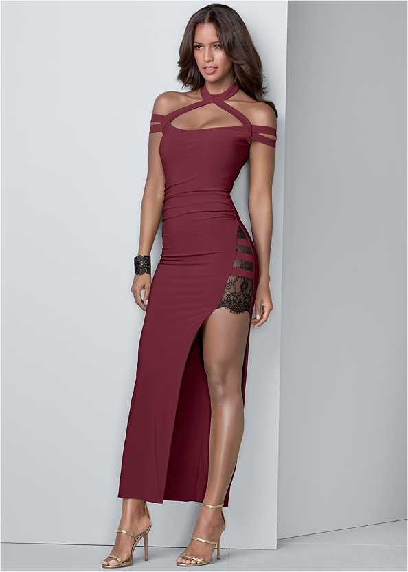 Lace Detail Long Dress,Smooth Longline Push Up Bra,High Heel Strappy Sandals,Lucite Detail Heels