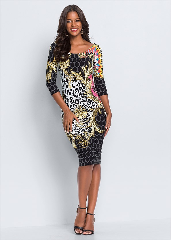 Printed Bodycon Dress,Confidence Seamless Dress