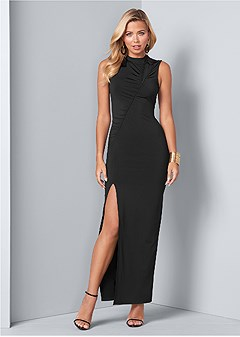mesh detail long dress