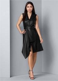 Front View Faux Leather Wrap Dress