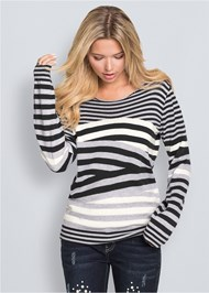 Front View Striped Crew Neck Sweater