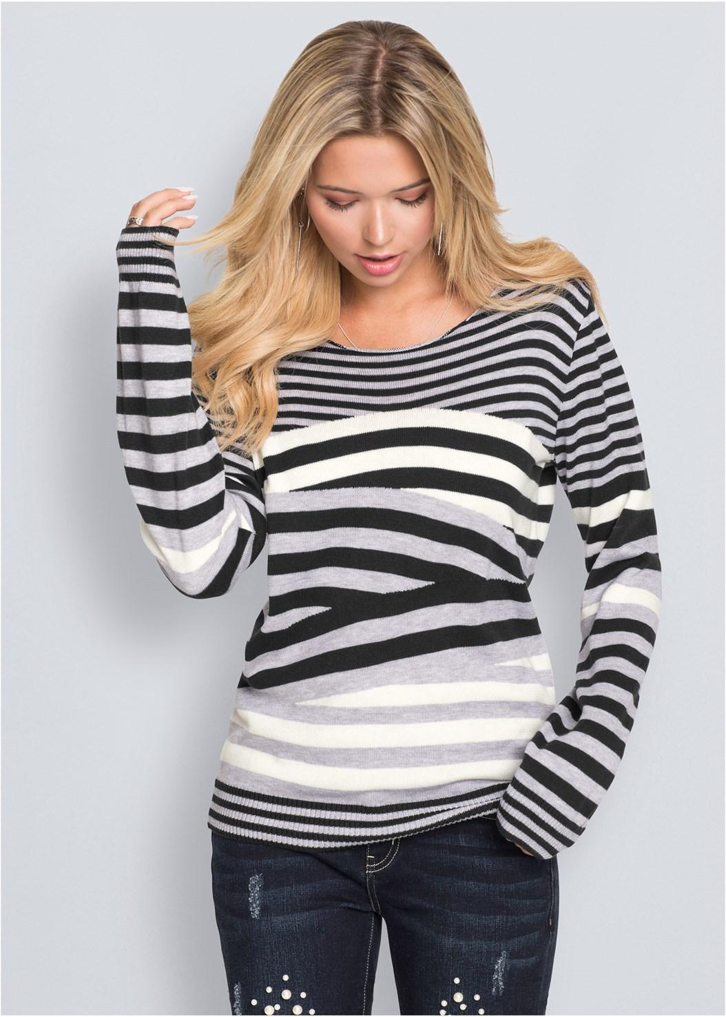 Striped Crew Neck Sweater,Sweater Trim Boot