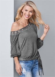 Front View One Shoulder Grommet Top
