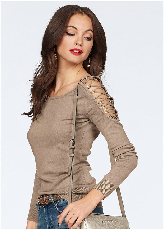 LACE UP DETAIL SWEATER,RIPPED BUM LIFTER,PUSH UP BRA BUY 2 FOR $40,LACE UP TALL BOOTS