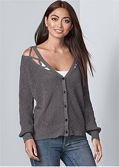 cut out detail cardigan