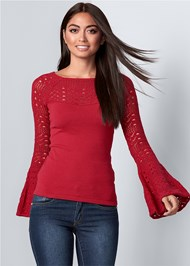 Front View Crochet Detail Sweater
