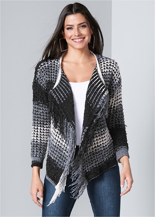 FRINGE CHENILLE CARDIGAN,SEAMLESS CAMI,COLOR SKINNY JEANS,SCOOP NECK SHAPING BODYSUIT,STUD DETAIL BOOTIES