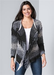 Front View Fringe Chenille Cardigan