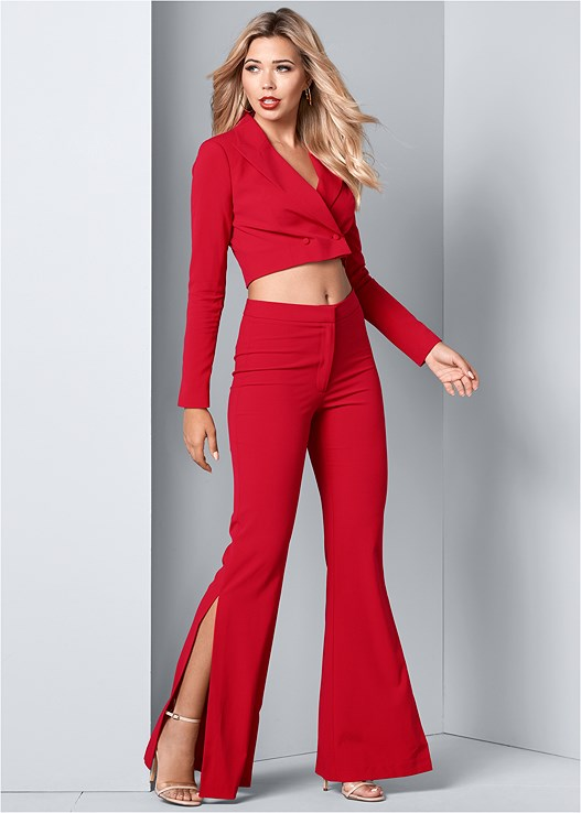 FLARE PANTS SUIT SET,LUCITE DETAIL HEELS,HOOP EARRING SET