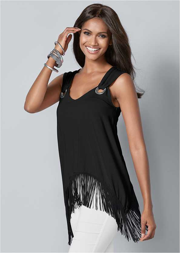 Fringe Detail Top,Mid Rise Slimming Stretch Jeggings,High Heel Strappy Sandals