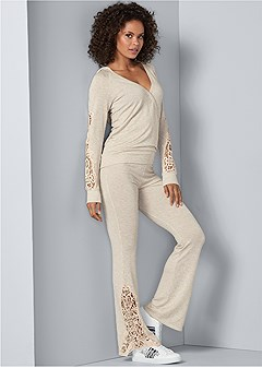 crochet detail lounge set