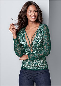 strappy detail lace top