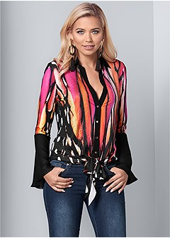 embellished tie front print top