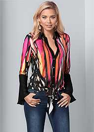 Front View Embellished Tie Front Print Top
