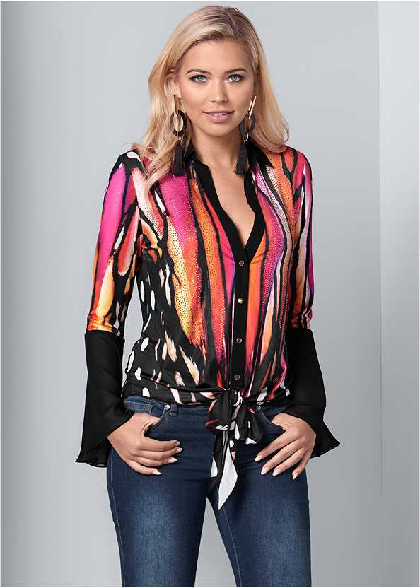 Embellished Tie Front Print Top,Mid Rise Color Skinny Jeans,Stud Detail Scarf