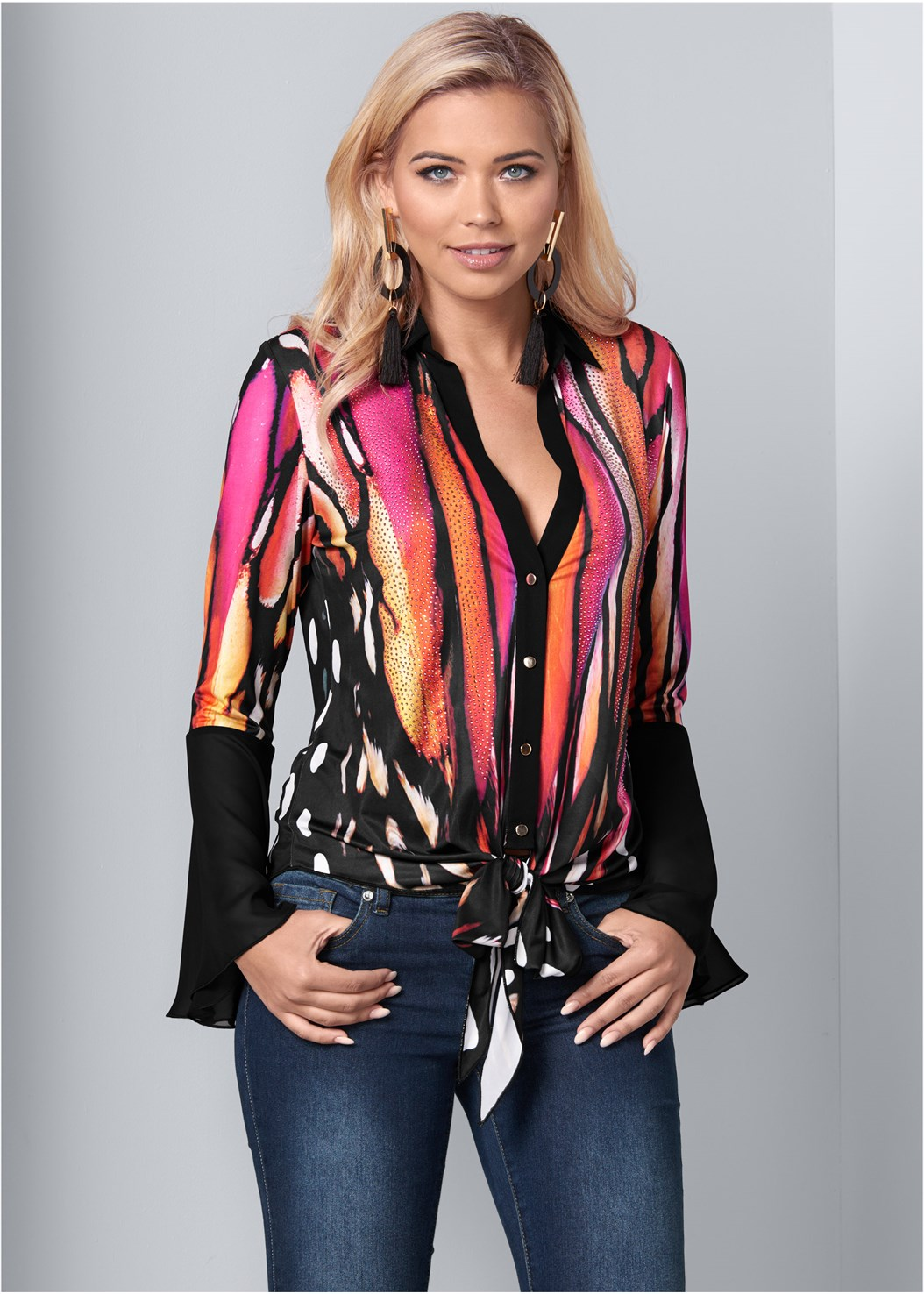 Embellished Tie Front Print Top,Mid Rise Color Skinny Jeans,Stud Detail Crossbody