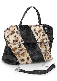 faux fur print bag