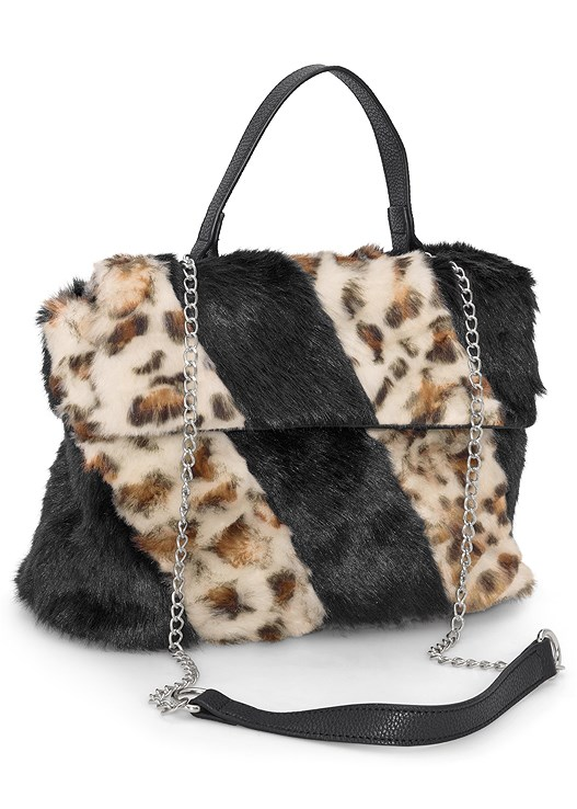 FAUX FUR PRINT BAG,SEAMLESS CAMI,CORSET DETAIL LONG JACKET,CUT OUT DETAIL BOOTS,RHINESTONE DETAIL HOOPS