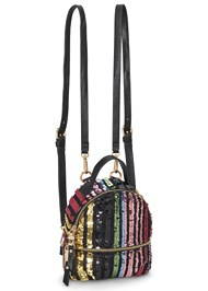 Front View Striped Sequin Backpack