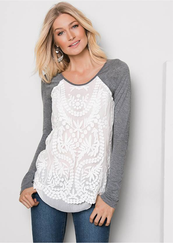 Embroidered Layered Top,Mid Rise Color Skinny Jeans
