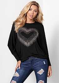 Front View Embellished Heart Tee