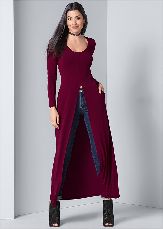 MAXI TOP,COLOR SKINNY JEANS