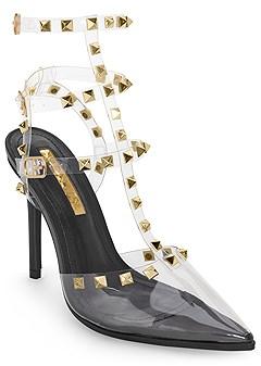 stud detail lucite heels