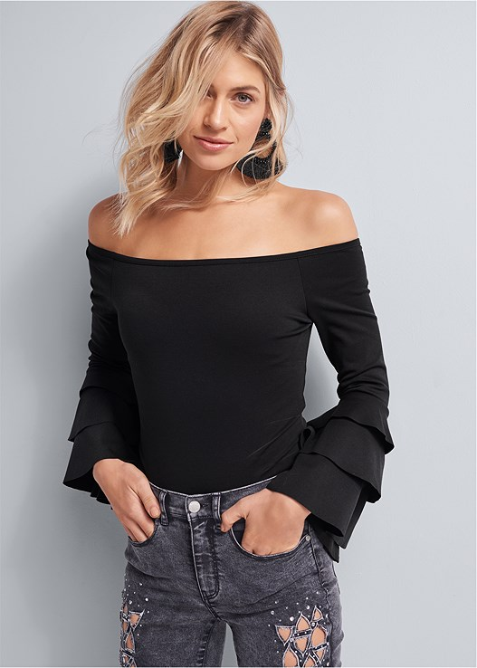 RUFFLE SLEEVE BODYSUIT,CUT OUT DETAIL JEANS,EMBELLISHED MULES