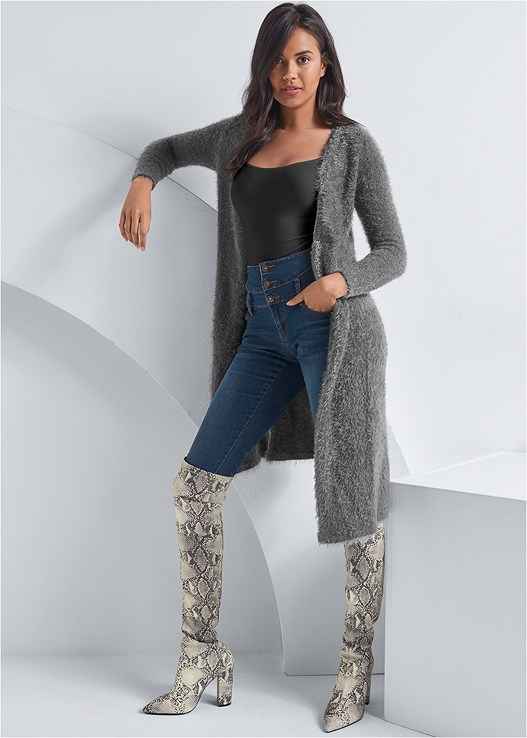 EYELASH LONG CARDIGAN,SEAMLESS CAMI,HIGH WAISTED SKINNY JEANS,NAKED T-SHIRT BRA,ANIMAL PRINT BOOTS