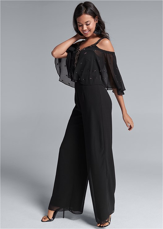 RUFFLE SLEEVE JUMPSUIT,LUCITE DETAIL HEELS,BEADED TASSEL EARRINGS