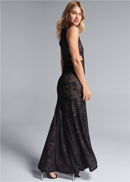 Back View Lace Cut Out Evening Dress