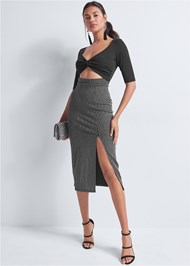 Front View V-Neck Cut Out Dress