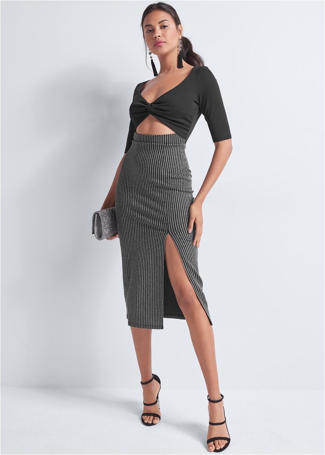 V-Neck Cut Out Dress,Embellished Strappy Heel,Rhinestone Clutch