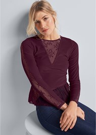 Front View Velvet And Lace Top