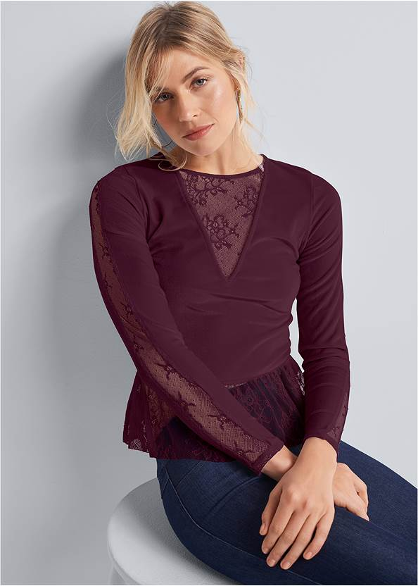 Velvet And Lace Top,Mid Rise Slimming Stretch Jeggings