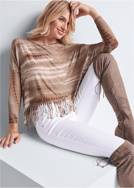 TIE DYE FRINGE TOP,COLOR SKINNY JEANS,EVERYDAY SEAMLESS LACE BRA,PERFORATED BOOTS