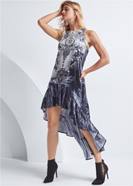 Full back view Paisley High Low Dress