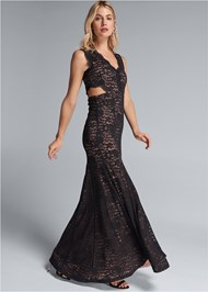 Front View Lace Cut Out Evening Dress
