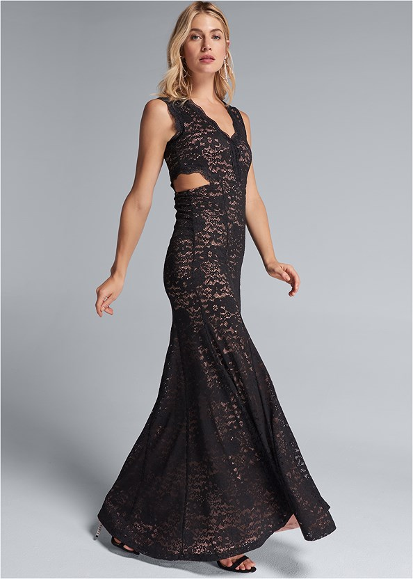 Lace Cut Out Evening Dress,Embellished Strappy Heel