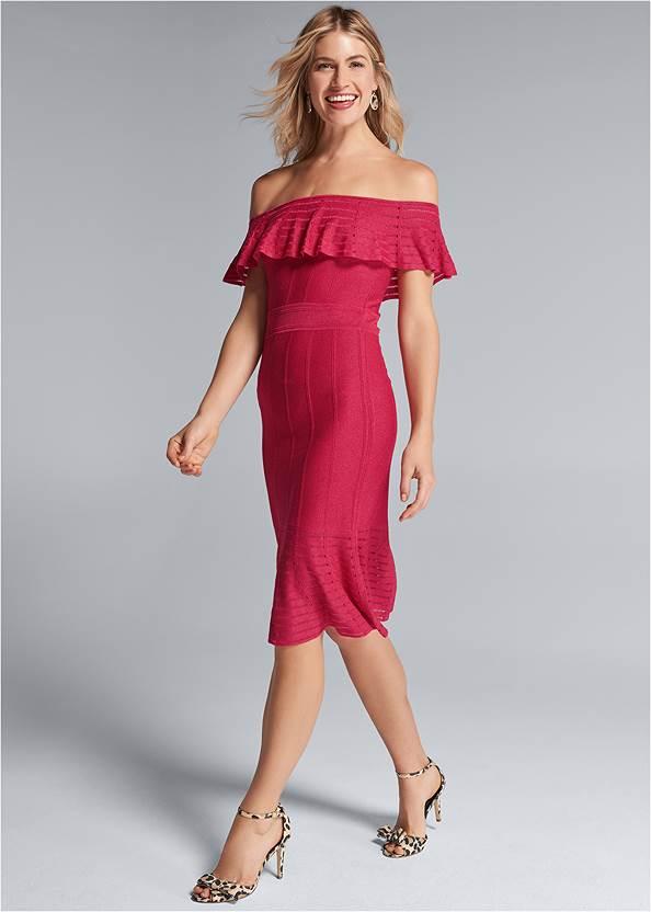 Off Shoulder Bandage Dress,Mixed Earring Set