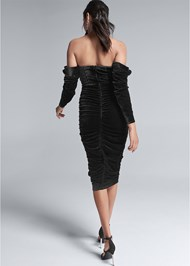 Full back view Velvet Bodycon Dress