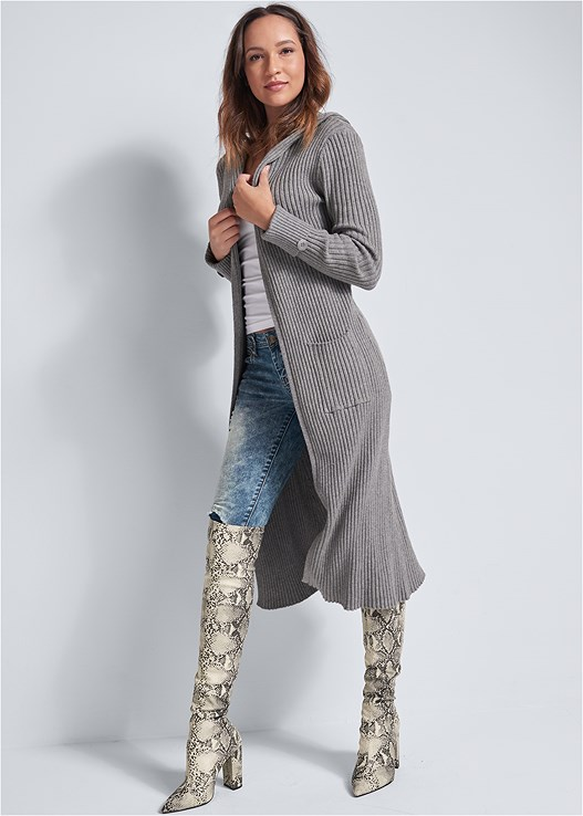 RIBBED HOODED DUSTER,SEAMLESS CAMI,ACID WASH JEANS,BRA WITH A HEART,ANIMAL PRINT BOOTS