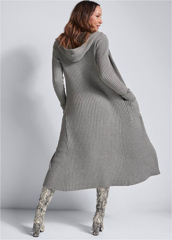 Full back view Ribbed Hooded Duster