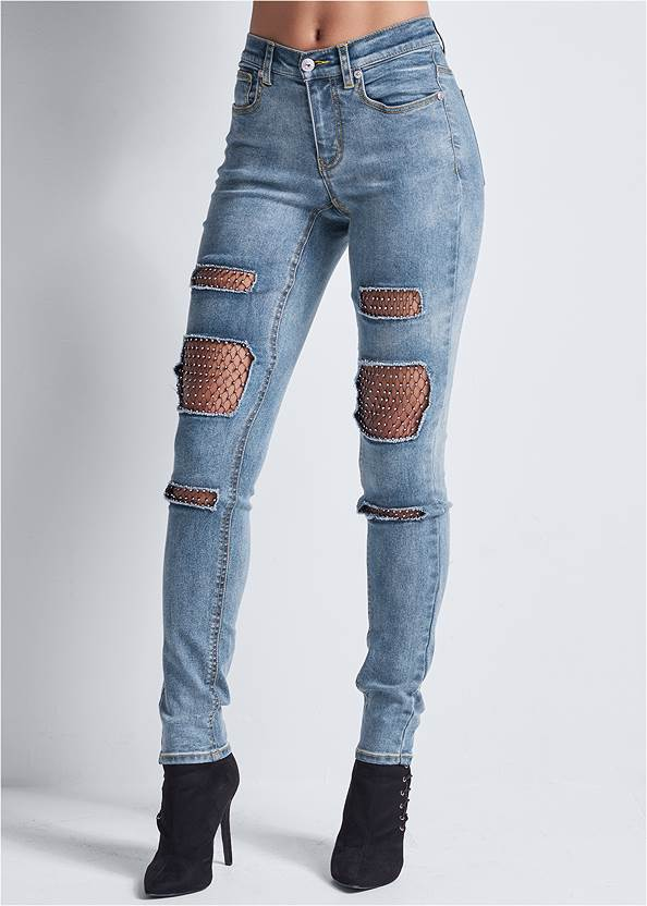 Cropped Front View Fishnet Inset Jeans