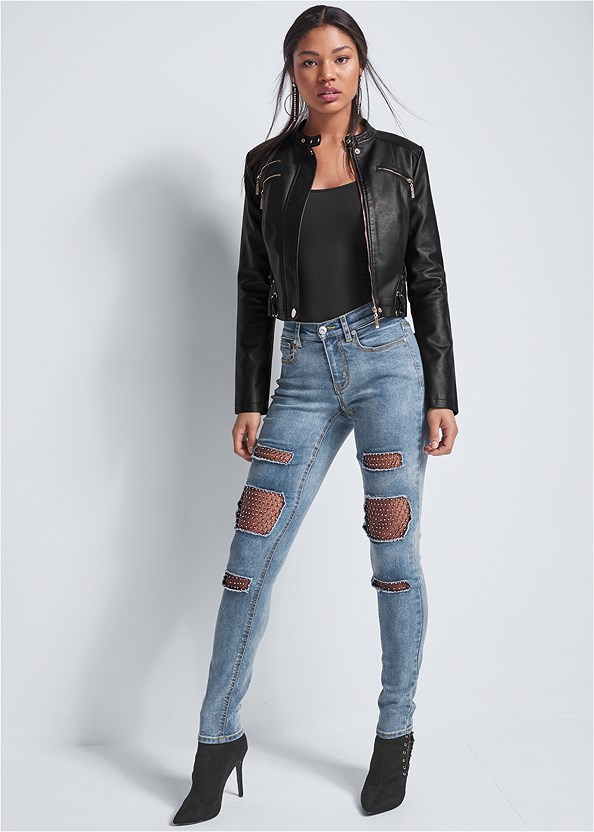 Fishnet Inset Jeans,Faux Leather Lace Up Jacket,Distressed Moto Jacket,Seamless Cami,Embellished Jacket,Tiger Detail Earrings,Python Clutch,Distressed Sequin Detail Skinny Jeans,Peep Toe Booties