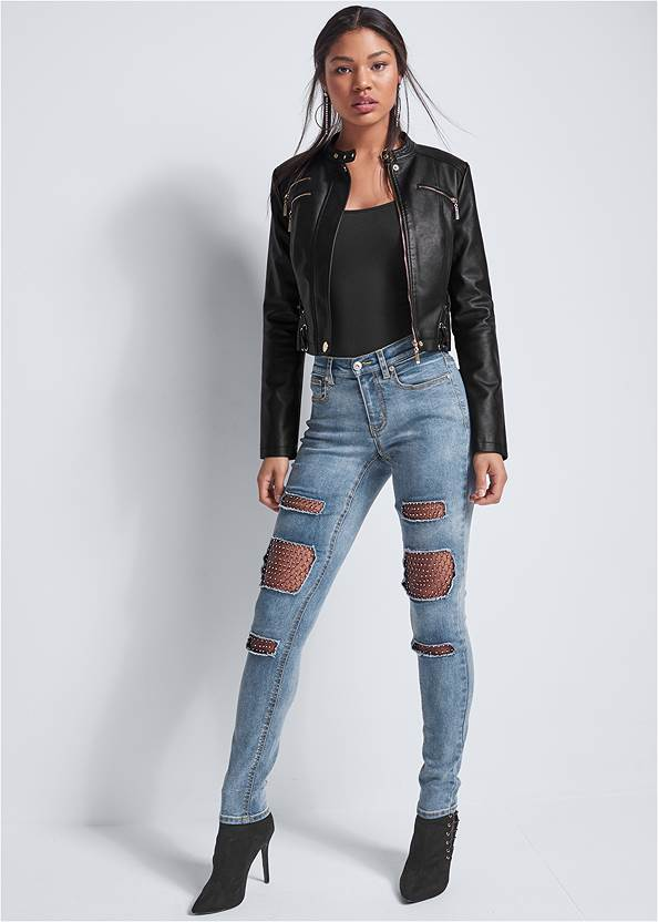 Fishnet Inset Jeans,Faux Leather Lace Up Jacket,Distressed Moto Jacket,Embellished Jacket,Python Clutch,Fringe Scarf,Distressed Sequin Detail Skinny Jeans,Basic Cami Two Pack,Slouchy Mid-Calf Boot