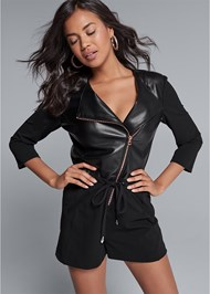 Cropped Front View Faux Leather Romper