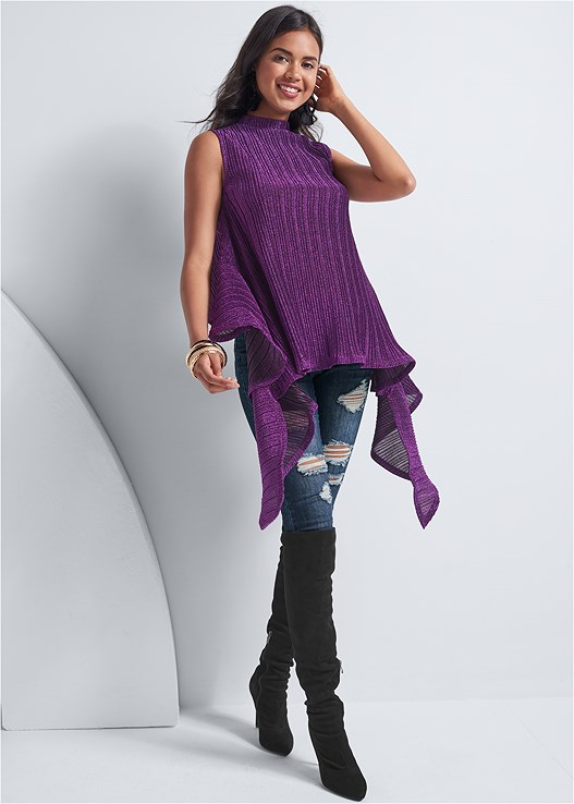 LUREX RUFFLE DETAIL TOP,DISTRESSED BUM LIFTER,CUT OUT DETAIL BOOTS,MULTI COLOR BANGLE SET