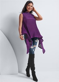 Front View Lurex Ruffle Detail Top